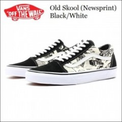 VANS USA/バンズ 2015'新作 Old Skool/オールドスクール (Newsprint) Black/White・VN-0003Z612N