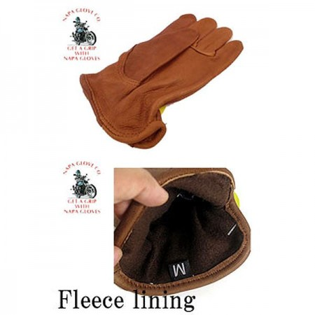 NAPA GLOVE/ナパグローグ DEERSKIN DRIVER WITH COTTON FLEECELINING/グローブ・BROWN