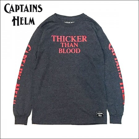 CAPTAINS HELM/キャプテンズヘルム #LOGO & THICKER THAN BLOOD TEE/ロングスリーブTシャツ・D.HEATHER×RED